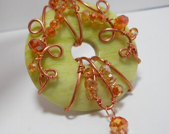 Art Nouveau inspired copper and apple green jasper donut pendant necklace
