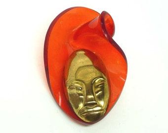Orange Lucite & Copper Elzac Bonnet Head Brooch - Vintage Tribal Face Mask
