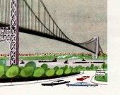 Washington Bridge in New York, mid century New York print, Hudson River bridge