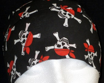 Black Skull Cap with Pirates, Bones, Chemo Cap, Biker, DoRag, Helmet liner, Motorcycle, Hats, Hair loss, Bald, Head Wrap, Handmade, Alopecia