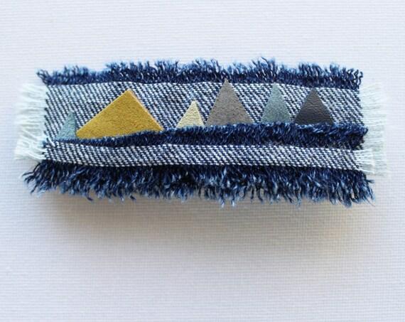 Alpine Medium Chunky Hair Clip - Mountains Design Denim Hair Accessory Handmade Hair Clip