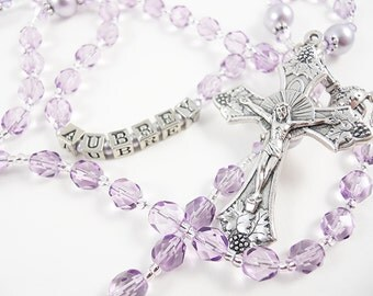 Violet Lavender Lilac Purple Catholic Rosary - Baptism, First Communion, Confirmation - Custom Rosary Personalized Rosary
