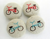 4 Kawaii bicycles bike handmade fabric covered buttons 3/4 inches