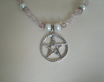 Silver Pentacle Necklace, wiccan jewelry pagan jewelry wicca jewelry pentagram witch witchcraft metaphysical  goddess magic handfasting