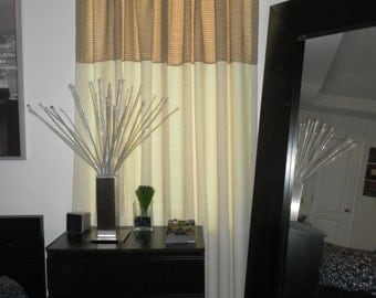 Contemporary Banded Drapes 90 inches long, two beautiful fabrics. Interchangeable Top to Bottom. Ivory solid and plaid green and blue