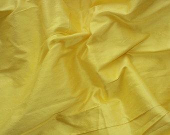 silk dupioni fabric - lemon yellow 100% pure silk - 1 yard sld013