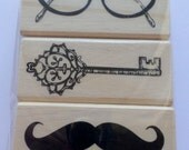 Rubber Stamp Set of 3 Retro Glasses Key Mustache