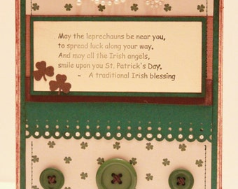 St. Patrick's Day Card - May the Leprechauns Be with You - Handmade St Patrick's Day Card - Irish Card - Irish Blessing