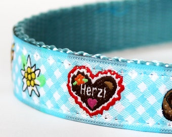 Blue German Dog Collar, Adjustable Dog Collar, European Ribbon Collar, Gingham