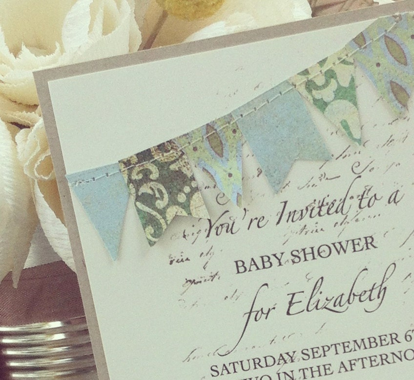 handmade baby shower invitation baby boy blue and green