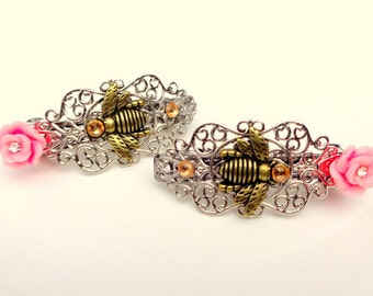Honey Bee Barrette Pair (sm. size,)Hair Jewellry,Flower Girl,Wedding,Hair Accessories,Crystal Filigree Barrette,Pink Flower,Hair Jewelry
