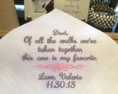 Father of the Bride Handkerchief - Personalized with Bride's Name and Wedding Date