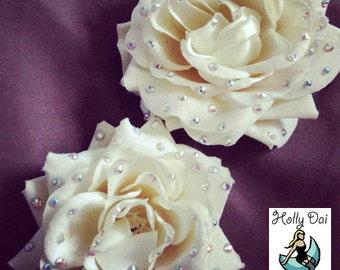 Large Rhinestone Wedding White Rose Hair Flower