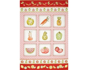A Wonderful Fruitful Hands Vegetables From The Garden Pink Fabric Panel Free US Shipping