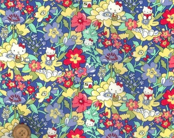 "Liberty tana lawn - Hello Kitty printed in Japan - Kirstie Hello Kitty  -Blue and  Purple 30cm or 11.8"" by 110cm or 42"" wideth"