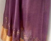 Purple Mauve with Gold Half Circle Belly Dance Silk Veil