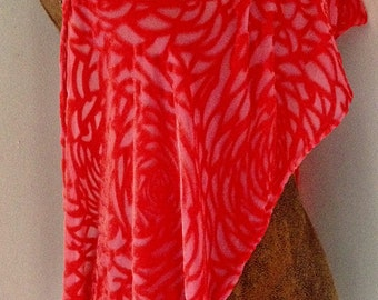 Coral Tangerine Orange Silk Velvet Devore Burnout Scarf with Fringe