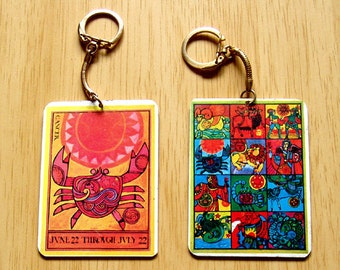 Flower Child Cancer Zodiac Key Chain from the 1970's