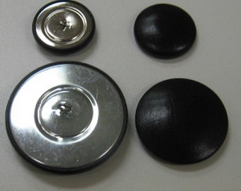 Leather Covered Button set #16 Black