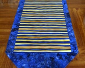 Table Runner - House Warming Gift - Handmade Gift - Blue and Gold Stripes - Gift for Mom - Wedding Anniversary Gift  ** Gift for Mothers Day