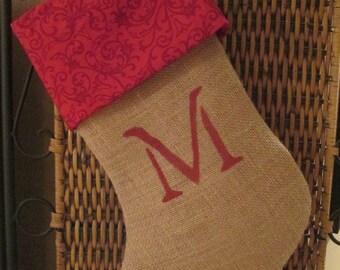 burlap Christmas stocking with monogram