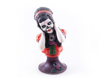 Up-cycled Day of the Dead Bust of Lady