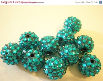 CLEARANCE SALE 18mm - 10 Rhinestone Resin Balls - TURQUOISE  - Basketball Wives Inspired