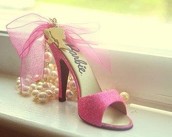 High heel Hot Pink Barbie shoe.