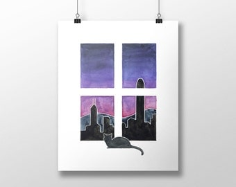 Cat Art - Cat in Hong Kong - from cats around the world series - Hong Kong Skyline, cat painting, hong kong art
