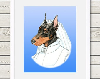 Doberman Art - Doberman Bride Dog Portrait Painting - Wedding Dog Art, doberman painting, dog home decor, dog gift