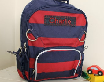 Large Backpack Personalized (Large Size) -- Navy/Red Stripe