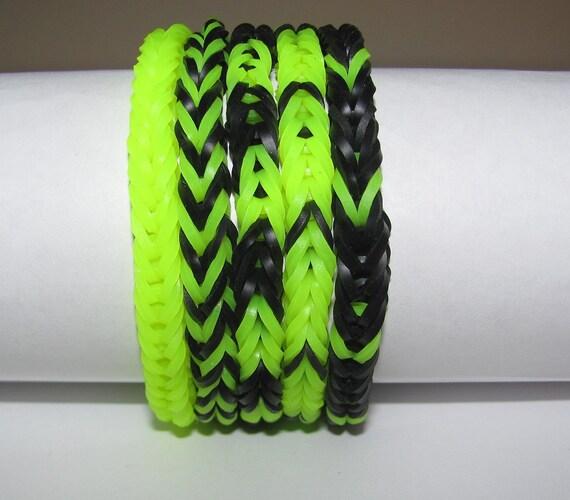 Rubber band stretch bracelet lot of 5 fishtail pattern neon yellow