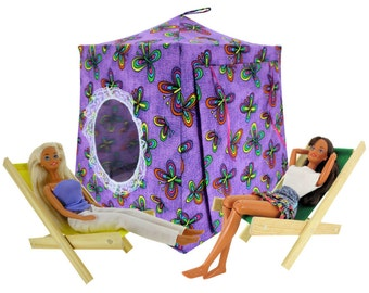 Toy Pop Up Tent, Sleeping Bags, purple, butterfly print fabric for dolls, stuffed animals