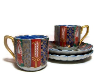 Vintage Demitasse Cup and Saucer Set of Two Red Blue Elegant Asian Decor