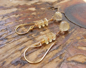 Rutilated Whiskey Quartz Earrings with Natural Topaz and Prehnite.