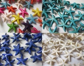 STARFISH  SEA STAR Wholesale Beads (5) strands Magnesite Carved 14 mm - You Choose Color Blue, Turquoise, Ivory, Assorted