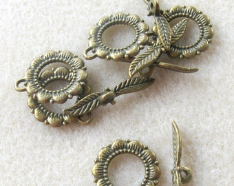 Antiqued Brass, Toggle Clasp, Ring and Bar, Necklace Closure,  Clasp Findings, Jewelry Making, Brass Toggle Clasp, Jewelry Findings, (5)