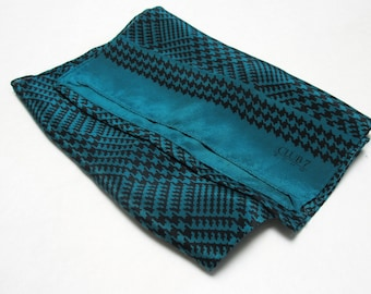Vintage ECHO Rectangle Silk Neck Scarf with Black and Green Houndstooth Plaid Ascot Cravat Men Women