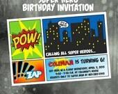 Super Hero Super hero Birthday Invitation -- Comic book invite -- Superhero party -- Digital or Printed for you