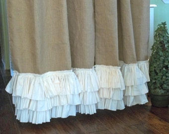 Ruffled bottom Burlap Curtain Panel