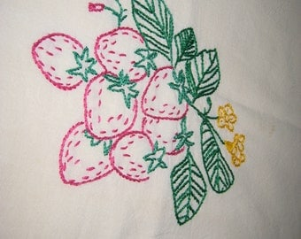 Antique tea towels, set of six (6), hand embroidered