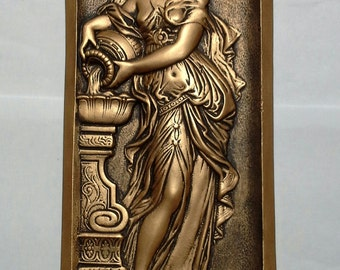 Art nouveau/Roman vintage style deco plaque finished in a warm bronze