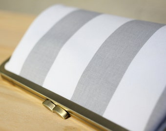 Grey & White Stripes - 8 inches Bridesmaid Clutch - the Christine Style Clutch