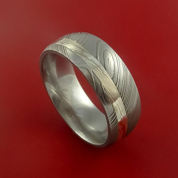 Damascus and 14k WHITE GOLD Mokume Gane Ring Custom Made