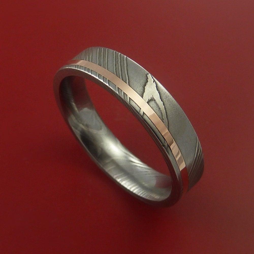damascus steel 14k rose gold ring wedding by stonebrookjewelry