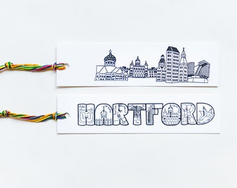CT City Collection | Hartford Text/Image Letterpress Bookmark