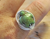 Wire Wrapped Ring Green Stone Sea Turtle Non-Tarnish Silver Plated Wire
