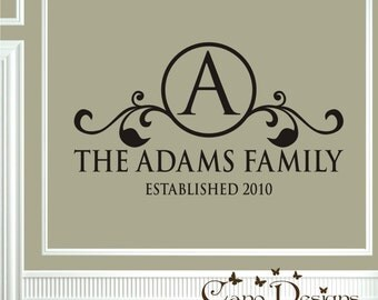 Monogram Family Name vinyl wall art, Initial , name, Established vinyl decal, Custom removable decals stickers