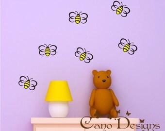 Bumblebees vinyl decal set of 6 , Vinyl wall decals stickers, nursery, kids & teens room, removable decals stickers