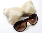Eyeglass Case, Sunglasses Pouch, Sunglasses Case, Zippered Eye Pouch, Khaki Chevron